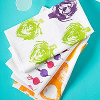 Fruit and Vegetable stamps on tea towel - so cute!!!