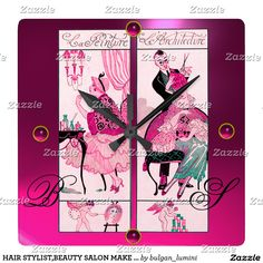 HAIR STYLIST,BEAUTY SALON MAKE UP ARTIST Pink Gemstones Square Wall Clock #beauty #salon #makeupartist #makeup #fashion #decor