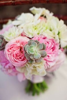 Pink and Cream Flowers and Succulents in Bouquet   photography by aldersphotography...    floral design by mulberryrowfloral...