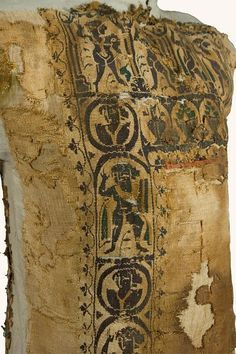 This tunic was a garment commonly worn by males in Greco-Roman civilizations. At the top of this tunic, an arcade encloses figures of dancers and warriors. Below, two vertical panels with warriors and dancers alternate with roundels amid human busts. Egyptian Goddess, Ancient Egyptian Art, Ancient Rome, Textiles, Rumi Books, Renaissance Era, Early Middle Ages, Byzantine Art, Roman Empire