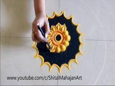 Super Creative and Easy Rangoli Designs# Innovative Rangoli by Shital Mahajan. Colorful Rangoli Designs, Beautiful Rangoli Designs, Rangoli Ideas, Flower Rangoli, Simple Rangoli, Cute Baby Girl, Silk Painting, Traditional Art, House Warming
