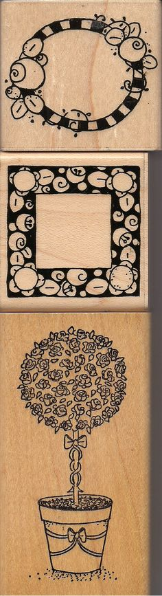 Faux Mary Engelbreit stamps - top two are JRL Designs - middle is #4375 Alphabet Frame Set -- bottom stamp is by Embossing Arts, Sweet Home, Or, 1993.