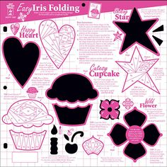 """Easy Iris Folding designs! With this 12""""x12"""" template you will create 4 different folded Iris design accents for beautiful card or scrapbooking focals!"""
