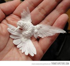 A hummingbird made of paper