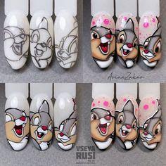 Polygel Nails, Nail Manicure, Cute Nails, Disney Acrylic Nails, Fall Acrylic Nails, Nail Art Dessin, Nail Drawing, Cute Acrylic Nail Designs, Animal Nail Art