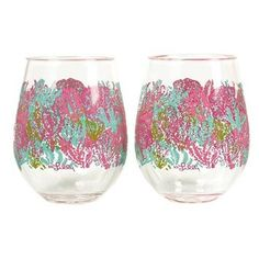 Amazon.com: Lilly Pulitzer Acrylic Stemless Wine Glass Set - Let's Cha Cha: Kitchen & Dining