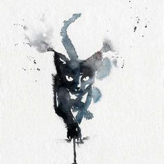 Just Pinned to CatMeows: Black cat in watercolour. High quality reproductions of my original paintings. I spent a lot of time finding the perfect printer to handle my drawings. Years of experience fast and professional. After a thorough touch up of the d Tattoo Manche, Black Cat Tattoos, Black Cat Art, Black Cats, Drawn Art, Illustration Art, Illustrations, Cat Drawing, Watercolor Paintings