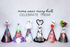 mothers day party hats. diy paper hats. diy party hats. mom.