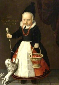 1622 Unknown artist from the Dutch (Friesland) School Portrait of a Girl, Aged One and her dog