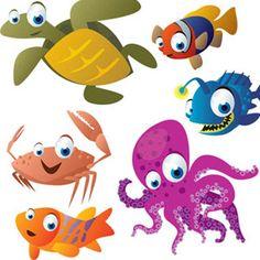 Cute-Cartoon-Sea-Animals-Vector