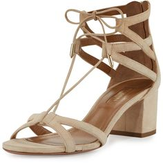 Aquazzura Beverly Hills Suede Lace-Up Sandal (16.321.600 VND) ❤ liked on Polyvore featuring shoes, sandals, nude, nude sandals, criss cross strap sandals, criss-cross sandals, strappy high heel sandals and strappy sandals
