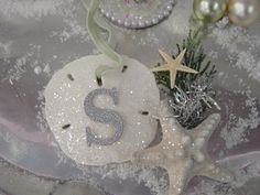 Glitter Sand Dollar Ornament with Monogram Beach Christmas Trees, Coastal Christmas Decor, Nautical Christmas, White Christmas, Xmas, Coastal Decor, Beach Ornaments, Diy Christmas Ornaments, Christmas Decorations