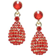 """Red Crystal Earrings 1 1/4"""" Drop Gold Plated Nicely Boxed (€15) found on Polyvore featuring jewelry, earrings, gold plated earrings, red earrings, red crystal earrings, crystal earrings and gold plated jewellery"""