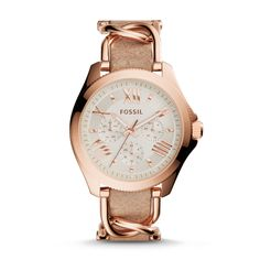 AM4620 - Cecile Multifunction Stainless Steel and Leather Watch – Rose and Bone