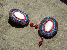 Tutti Frutti Stud Earrings Bead Embroidered by LisaPierceJewelry, $95.00