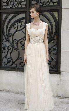 Perlenbesetztes Chiffon legeres attraktives Brautkleid mit Herz-Ausschnitt