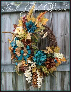 Elegant Teal Ivory Brown Extra Large Fall Wisteria Wreath, Gold, Cream, Tuscan Autumn Wreath, XXL turquoise, aqua, Sage Moss Green by IrishGirlsWreaths on Etsy