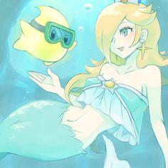 Rosalina & Luma in the deep ocean. Rosalina as a Mermaid & Luma as a Diver. Mario And Luigi, Mario Kart, Mario Bros, Super Mario Princess, Nintendo Princess, Princess Daisy, Mario Fan Art, Super Mario Art, Super Mario Brothers
