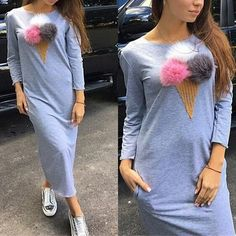 Grey Plain Appliques Round Neck Streetwear Cotton Maxi Dress