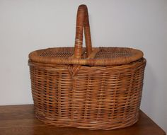 Vintage Wicker Picnic Basket Home Decor Storage by GirlPickers, $26.00