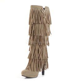 Cheap Fashion Tassel Knee High Boots