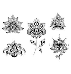 Black and white floral motifs of persian paisleys vector | We ...