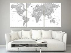 Large art. Gray watercolor world map canvas print, multi panel canvas map, highly detailed world map with cities, grayscale map.  map155 019
