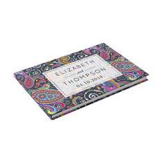 #Wedding - Persian Paisley - Green Pink Blue Yellow Guest Book - #WeddingGuestBook #Wedding #Guest #Books #Guestbook Wedding Guest Books