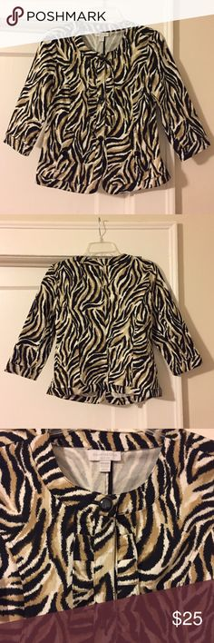 """Animal Print 3/4 Length Sleeve Work Jacket 3 Button 3/4 length Blazer that will add a pop to any neutral outfit. Ruffle detail along black shiny buttons with gold accents. 2 pockets with matching buttons. 34"""" bust, 15"""" shoulder, 20"""" length. 97% Cotton, 3% Spandex. Super comfortable! Throw on over your LBD for work then carry it into Happy Hour! 🍸 Charter Club Jackets & Coats Blazers"""