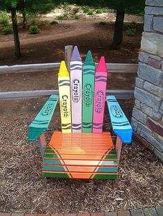 These Adirondack chair plans will help you build an outdoor furniture set that becomes the centerpiece of your backyard. It's a good thing that so many plastic patio chairs are designed to stack, and the aluminum ones fold up flat. Painted Chairs, Hand Painted Furniture, Funky Furniture, Repurposed Furniture, Pallet Furniture, Kids Furniture, Pallet Chair, Wooden Chairs, Furniture Stores