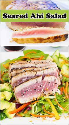 Seared Ahi Salad with Ginger Sesame Dressing.  www.joyineveryseason.com