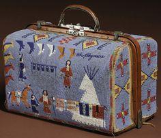 Vintage Lakota beaded suitcase