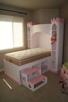 Castle Bed - Princess Castle Bookshelf / Headboard, Optional Tall Twin sized bed w/ storage, & Heart Step on Etsy, $1,500.00
