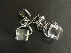 Vintage Designer Earrings Fun Charm Ice Cube Tongs Silver Bartender Drink Clip
