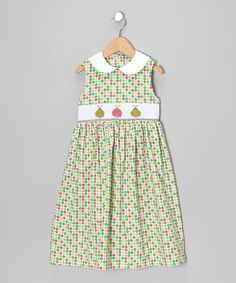 Take a look at this Green Polka Dot Ladybug Smocked Collar Dress - Toddler & Girls on zulily today!