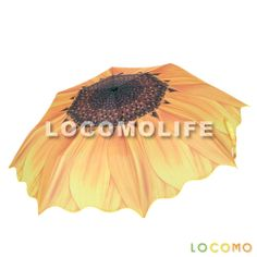 Women Sunflower Print Wave Edge 8 Panel Compact Folding Umbrella