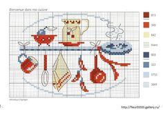 0 point de croix grille et couleurs de fils ustensiles de cuisine