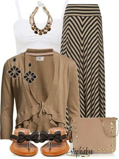 Love this maxi skirt outfit