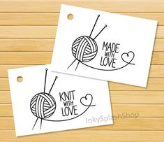 This listing is for instant download of two options printable knitting tags Knit with Love and Made with Love. This tag is great as packaging addition to your hand knitted or crocheted products or as a gift tag to your handmade gifts. Buy once - and print as many as you need. Tag size is approximately 2x2,9 inches (~5,15x7,45 cm). ---CUSTOMIZATION--- Would you like to have this design in another tag size, tag shape or color? Do you need another inscription on it? Would you like it to be…
