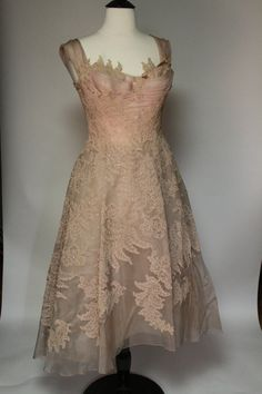 Beautiful pink lace 1940s party dress by TopHatVintageShop on Etsy, $290.00