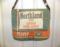 Northrup King Vintage seed bag upcycled Messenger by LoriesBags