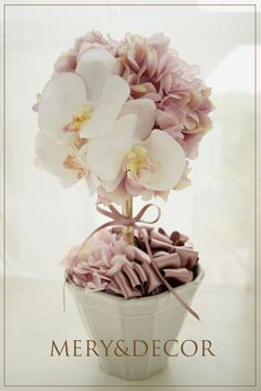 胡蝶蘭トピアリー ピンクトピアリー 紫陽花トピアリー アーティフィシャルフラワー シルクフラワー フラワーアレンジ