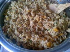 Locrio de trigo integral con carne de soja al curry
