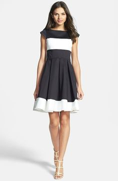 kate spade new york 'adette' colorblock woven fit flare dress Cheap Dresses, Cute Dresses, Casual Dresses, Summer Dresses, Dress Skirt, Dress Up, Love Fashion, Womens Fashion, Dress Shapes