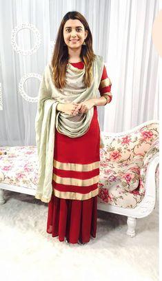 Very cool Gharara Designs, Kurta Designs, Punjabi Fashion, Indian Bridal Fashion, Indian Dresses, Indian Outfits, Punjabi Dress, Punjabi Suits, Punjabi Bride