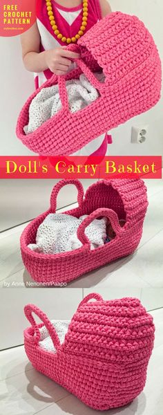 Free Crochet Pattern Doll's Carry Basket #CrochetDolls #crochetBasket | size: square 50"