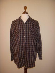Plains Western Wear Big Man Black Plaid Pearl Snaps Western Ranch Work Shirt 3X