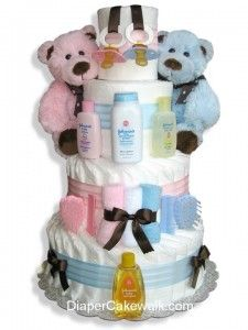 twin diaper cake. Now that's a cool idea for a twin baby shower... Baby Shower Diapers, Baby Shower Cakes, Baby Shower Parties, Baby Shower Fun, Baby Shower Gender Reveal, Baby Showers, Twin Diaper Cake, Nappy Cakes, Unique Baby Shower Gifts