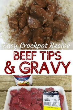 Slow Cooker Beef Tips and Gravy easy recipe. No onions and No mushrooms in this recipe but you can add them if you like. Slow Cooker Beef Tips and Gravy easy recipe. No onions and No mushrooms in this recipe but you can add them if you like. Easy Beef Tips And Gravy Recipe, Crockpot Recipes Beef Tips, Beef Tips And Rice, Crock Pot Beef Tips, Crockpot Dishes, Crock Pot Cooking, Easy Recipes, Crockpot Meals, Dinner Crockpot