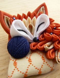 Tsumami zaiku brooch. Cute sleeping fabric fox. от MomoKanzashi
